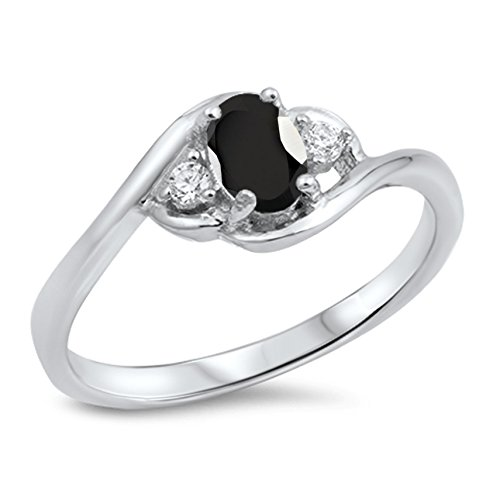 925 Sterling Silver Faceted Natural Genuine Black Onyx Oval Cluster Ring Size 6