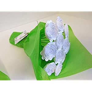 White Carnations on Stems, Bouquet of 12 Scalloped Paper Roses, 1.5 Inch Flowers, January Birth Month 2