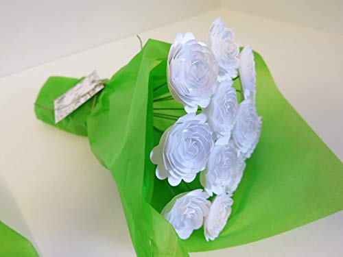 White-Carnations-on-Stems-Bouquet-of-12-Scalloped-Paper-Roses-15-Flowers-January-Birth-Month