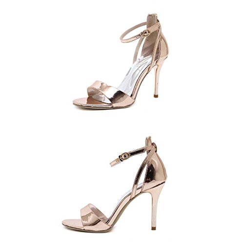 SHEO sandalias de tacón alto Las sandalias de las sandalias finas de los altos talones de las mujeres abren una sandalia abierta de la palabra de la palabra Champán