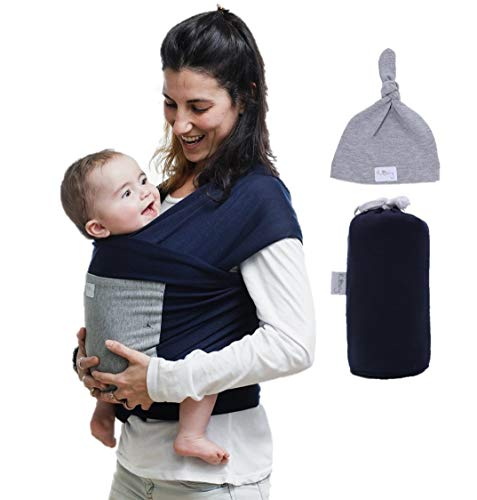 Baby Wrap Sling Carrier with a Free Matching Hat and Front Pocket, Multi-Use Soft Natural Eco-Friendly Material, Hands Free Baby Wrap for Newborns and Infants up to 35 lbs. Blue Gray