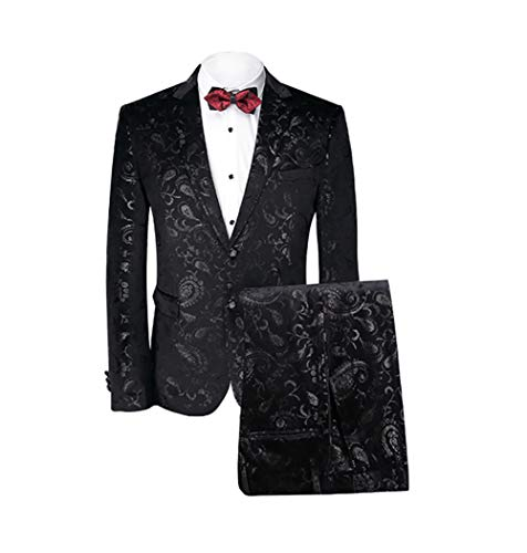 (MAGE MALE Men's 2-Piece Fish/Leopard Floral Printed One Button Notch Lapel Wedding Blazer Pants Sets (M, Pattern Type-Plant))