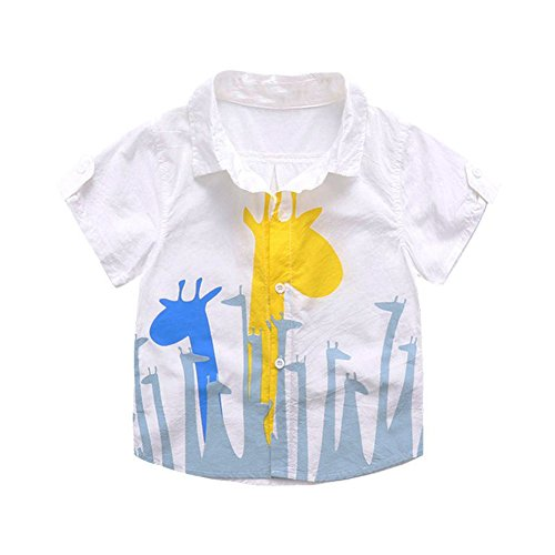Difly Boys Girls Funy Cartoon Baby Deer Comfortable and Breathable Shirts Summer Clothing Tees (2-10 Age)