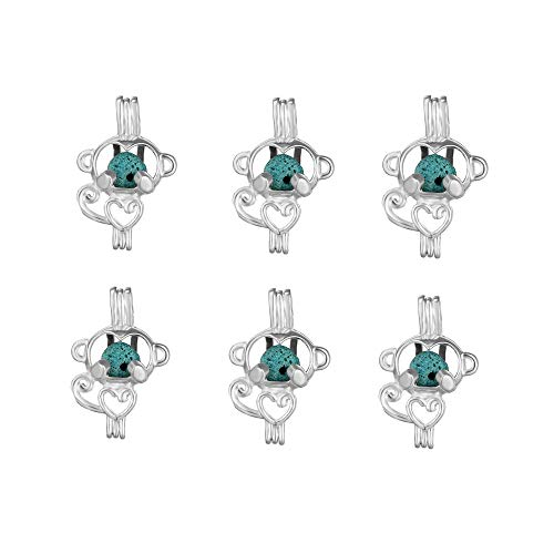 10pcs Monkey Shape Locket Rhodium Plated Bead Cage Hollow Locket Charm Pendant - Add Your Own Stones, Rock to Cage,Add Perfume and Essential Oils to Create a Scent Diffusing Charms (Monkey style)