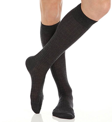 Pantherella OTC Merino Wool Dress Socks - 5x3 Rib (6796) Regular/Dark ()