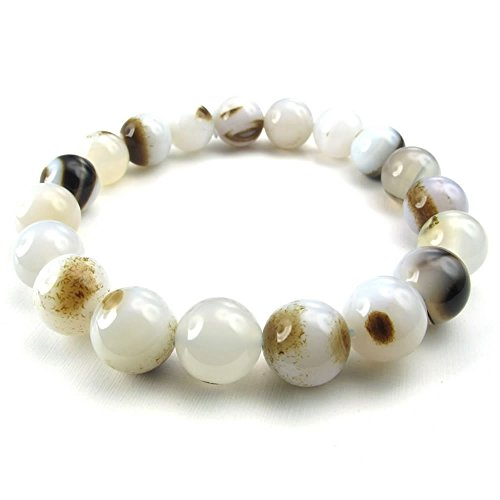KONOV Agate Mens Bracelet, 12mm Natural Energy Stone Tibetan Buddhist Prayer Mala, White Brown