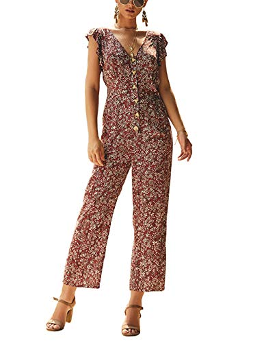 PRETTYGARDEN Women's Casual Button Front Ruffled Sleeveless V-Neck Floral Printed Long Wide Legs Pants Vintage Jumpsuit Romper (Wine Red, Medium) ()