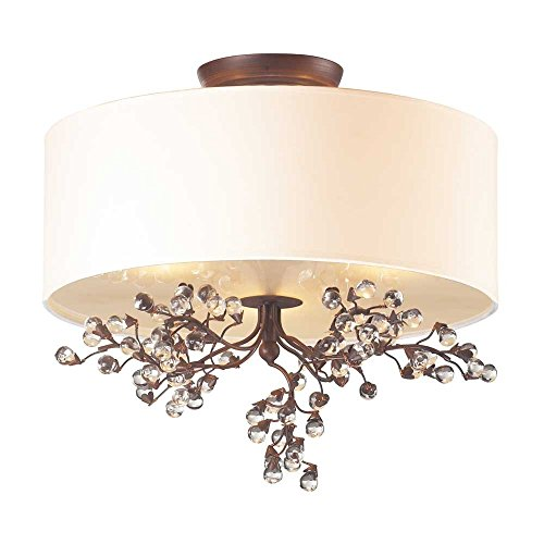 Elk 20089/3 Winterberry 3-Light Semi Flush Mount with Glass Shade, 16 by 15-Inch, Antique Darkwood Finish from ELK