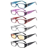 6-Pack Spring Temple Readers Include Reading Glasses Computer Glasses with Genuine Austrian Crystals Women +0.75