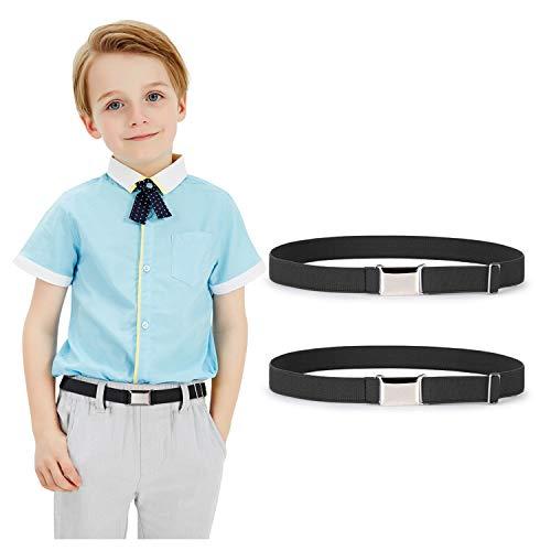 Kids Toddler Belt Elastic Stretch Adjustable Belt For Boys and Girls with Silver Square Buckle 2 Pack By JASGOOD (H-black+black, Suit for pants size below 26'')