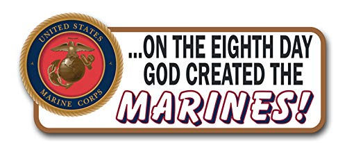 Military Vet Shop Magnet On The Eighth Day God Created The Marines Car Bumper Magnet Sticker Magnetic Vinyl Decal 3.8