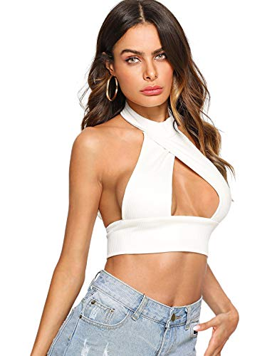 SheIn Women's Sexy Cut Out Halter Knit Ribbed Backless Crop Tank Top White ()