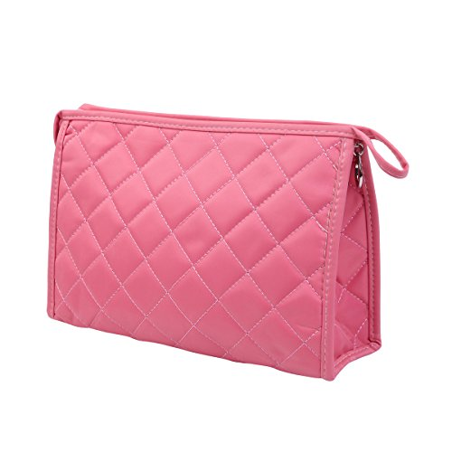 Premium Large Quilted Cosmetic Travel Makeup Bag Pouch Organizer, Pink (Bag Cosmetic Quilted)