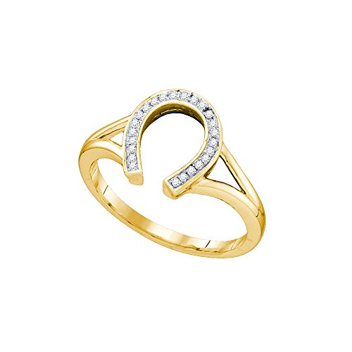 Ladies Horseshoe Diamond Ring (Roy Rose Jewelry 10K Yellow Gold Ladies Diamond Horseshoe Lucky Ring 1/12 Carat tw ~ Size 7)