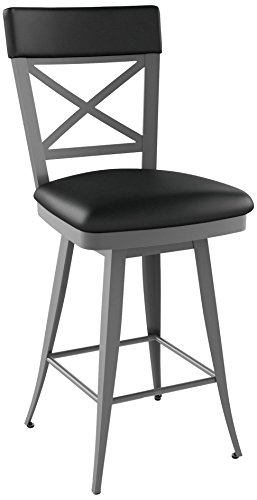 Amisco Windsor Swivel Metal Barstool with Backrest, 30-Inch, Metallo/Black - Amisco Bar Stools