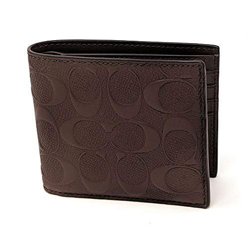 Coach Mens Compact Id Signature Crossgrain Leather Wallet, F75371 MAH,Mahogany,Small