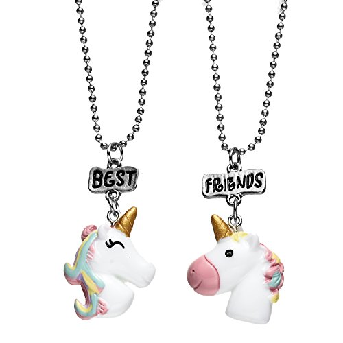 Best Celebrity Couple Costumes (Pibupibu 2 Packs Best Friends Kids Children Resin Pendant Necklace (Unicorn B))