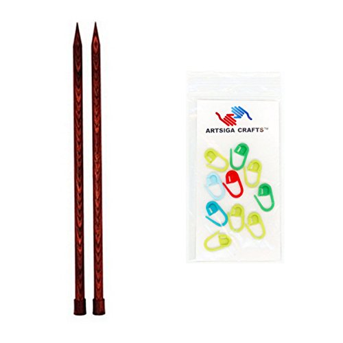Knitter's Pride Dreamz Single Point 14-inch (35cm) Knitting Needles; Size US 17 (12.0mm) Bundle with 10 Artsiga Crafts Stitch Markers 200444