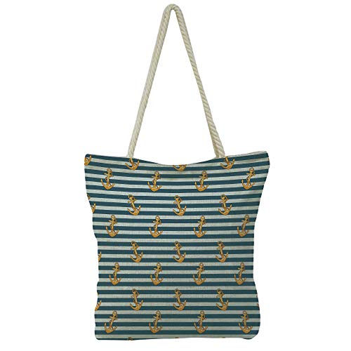 Handbag Cotton and Linen Shoulder Bag High-capacityHarbour Stripe,Retro