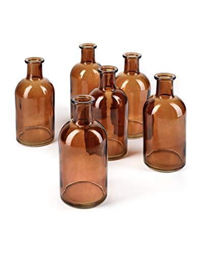 Serene Spaces Living Amber Medicine Bottle Bud Vases, Set of 6 - Antique Glass Bottles for Wedding, Event Floral Centerpiece, 5.25