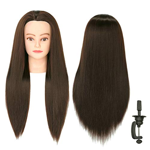 "Mannequin Head,Professional Beauty 30"" Long Hair no Shoulder have Makeup Model Head Professional Makeup Modeling with Hair Training Dummy Head Mannequin Manikin (COLOR # 7)"