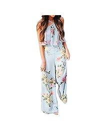Flank Summer Women Strap Floral Sleeveless Backless Jumpsuit Long Wide Leg Trousers