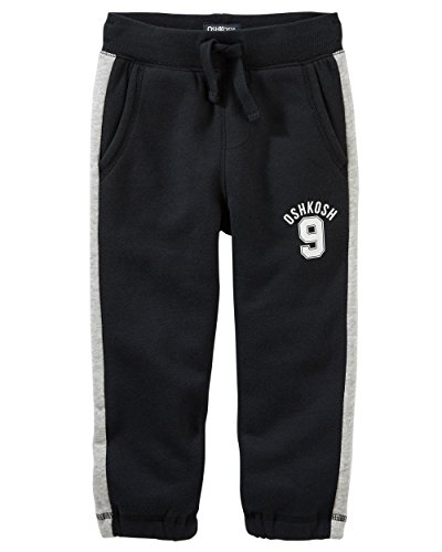 Osh Kosh Baby Boys' Classic Fit Logo Fleece Pants, Black, 24 Months (Classic Fleece Pants)