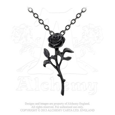 Alchemy Gothic Halloween Party Jewelry The Romance of The Black Rose Pendant
