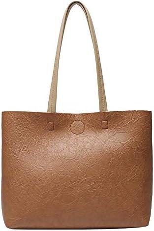 日本と韓国の女性のバッグ、ネット有名人、大きなバッグ、カジュアル、シンプルな通勤、ワンショルダー、脇の下バッグ、大容量ソフトレザートートバッグ、トレンディロマンチック (Color : Brown)