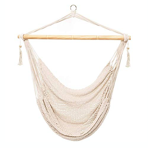 CCTRO Mesh Hammock Net Chair Swing, Hanging Rope Netted Soft Cotton Mayan Hammock Chair Swing Seat Porch Chair for Yard Bedroom Patio Porch Indoor Outdoor, 300 lbs Weight Capacity (Rope Seat Chair)