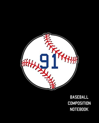 91 Baseball Composition Notebook: Baseball Journal for Boys Monogram Jersey Number 91 Wide Ruled Composition Notebook ()