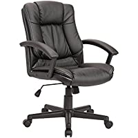 Christies Home Living Adjustable PU Leather Office Chair, Black
