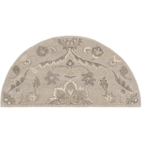 Tiwari Home 2' x 4' Floral Beige and Camel Brown Hearth Wool Area Rug
