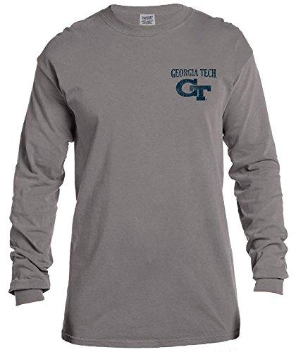 NCAA Georgia Tech Vintage Poster Long Sleeve Comfort Color Tee, XX-Large,Grey