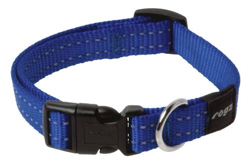 Rogz Utility Medium 5/8 Snake Side-Release Reflective Dog Collar, Blue by Rogz