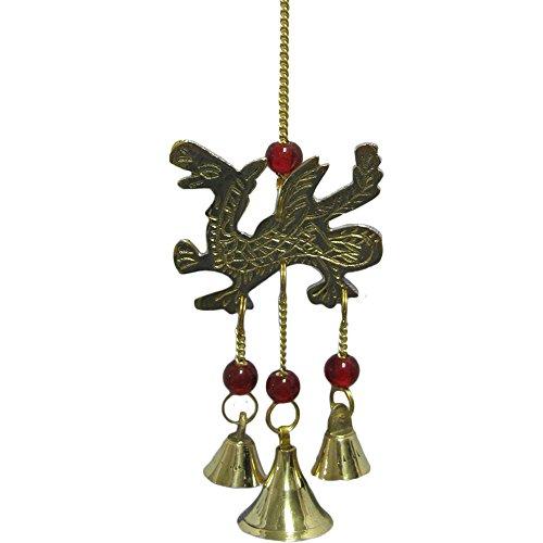 """9"""" Zen Feng Shui Hanging Garden Porch Brass Dragon Wind Chime /w Glass Beads & Bells"""