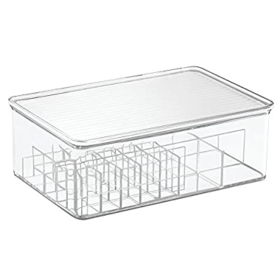 InterDesign Clarity Lipstick and Cosmetic Organizer with Lid for Vanity Cabinet to Hold Makeup, Beauty Products - Clear - 28 compartments for lipsticks and 4 compartments for additional cosmetics Boxes stack to keep vanity neat and organized Hinged lids keep contents easily accessible - organizers, bathroom-accessories, bathroom - 41wJVuWQ0pL. SS400  -