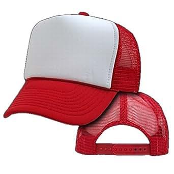 Amazon.com  Bulk Two Tone Trucker Hats (By The Dozen) (Red White ... 78c8449c8d8