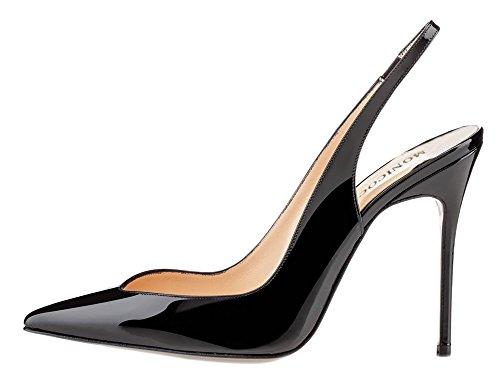 Monicoco Femme Élastique Talon Talons Pompes Chaussures Noir Brevet