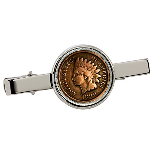 American Coin Treasures 1800's Indian Penny Silvertone Coin Tie Clip ()