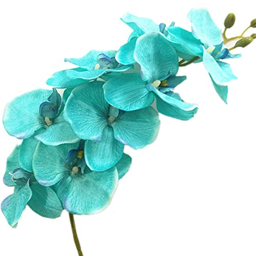 (jiumengya 5pcs Teal Blue Color Phalaenopsis Butterfly Moth Orchid 8 Flower Heads/Piece Orchids for Wedding Decorative Artificial Flowers (Teal Blue))