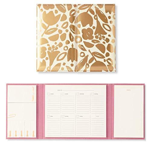 - Kate Spade New York Women's Desktop Calendar & Folio | Includes Sticky Notes, Undated Weekly Calendar, Notepad | Golden Floral