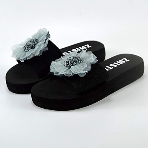 Tessuto Blu Medio Stile Tinta Casuale Jiangfu Fiore Scarpe sandali Elasticizzato Pantofole Tacco Piatto Donna Unita qww6gfxz