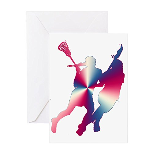 Lacrosse Note Card - CafePress - Lacrosse Red White And Blue - Greeting Card, Note Card, Birthday Card, Blank Inside Matte