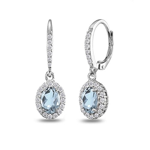 Topaz Oval Dangle Halo Leverback Earrings with White Topaz Accents ()