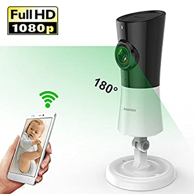 Antaivision 1080P HD WiFi IP Security Network bullet Camera For Home Surveillance, wireless Fisheye 180° panoramic Indoor With Night Vision Motion Detection 2-Way talking (white)
