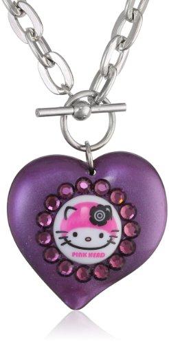 "Tarina Tarantino Hello Kitty ""Pink Head"" Purple Mod Heart Necklace"