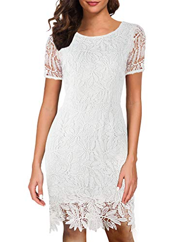 (Fit and Flare Dresses for Women Bodycon Cocktail Lace Floral 1950's 60s Style Vintage V-Back Ladies Suits Evening Casual Party Sheath Pencil Attire 596 (XL, White))