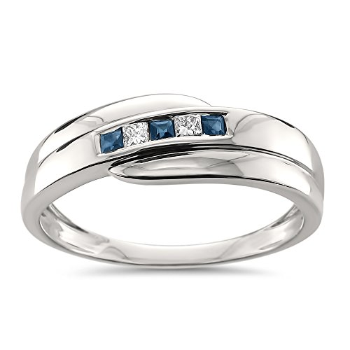 14k White Gold Princess-cut Diamond & Blue Sapphire Men's Wedding Band Ring (1/4 cttw, H-I, I1-I2), Size 8 ()
