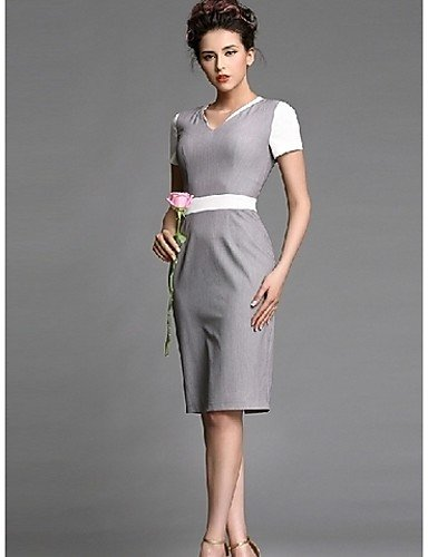 PU&PU Robe Aux femmes Ample Simple,Couleur Pleine Col en V Mi-long Polyester , gray-2xl , gray-2xl